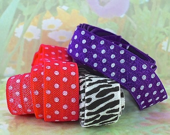 Stretch Ribbon Fold Over Elastic Hair Ties diy foe with polkadot Purple Pink Black and White Elastic by the yard