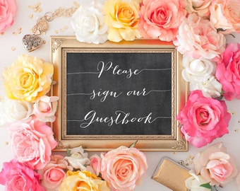 Sign Our Guestbook - 8x10 Chalkboard Wedding, Printable Wedding Sign, Reception Printable, Wedding Decor, Calligraphy