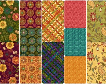 Autumn Elegance Cotton Fabric by Studio E! Burgundy, Pumpkin, Forest, Maize [Choose Your Cut Size]