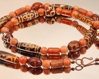 Mixed Stone Necklace, Chunky Necklace, Unique Necklace, Metaphysical Woman's Necklace, Stone Necklace, Gemstone Necklace, Rust-Orange 354