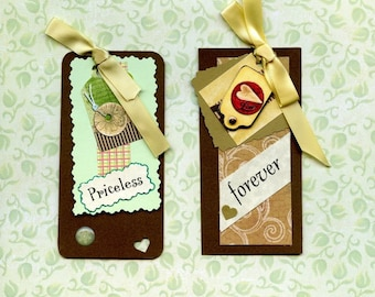 HAND MADE TAGS; Gift tags, layered, ribbon bowa, puffy stickers, heart punch, fancy edging