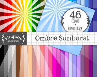 Digital Paper Pack, Ombre Sunburst Sunrays x 48, Instant Download, Commercial Use, Rainbow, Scrapbooking Paper