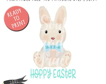 Hoppy Easter Boy - INSTANT DOWNLOAD - PDF Printable - Easter Bunny - Easter Rabbit - Bunny with Bow Tie