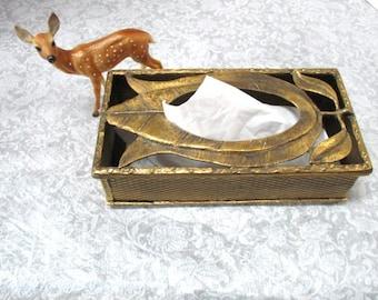 Vintage Tissue Box, Gold Metal Filigree w/ Wreaths, Florentine Boudoir Vanity Dresser Kleenex Cover, Shabby Chic Rectangle Royalty, Bridal