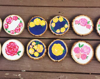 Floral Wood Slice Coasters / Wood Slice Coasters / Hand Painted Flower Coasters / Painted Flowers / Rustic Florals / Farmhouse Decor