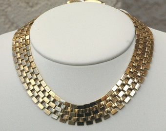 Book Chain Gold Tone Necklace Vintage