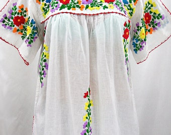 """Mexican Peasant Top Blouse Hand Embroidered: """"Lijera"""" White + Multi Color Rainbow Embroidery ~ Size MEDIUM"""
