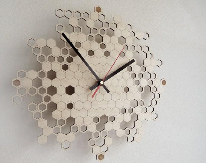 Honeycomb Engraved Wall Clock (medium)