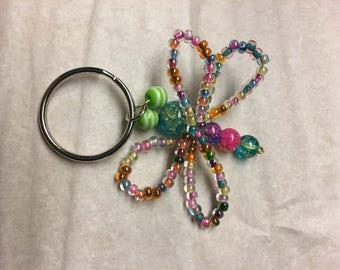 Green Eyed Rainbow Dragonfly Keychain