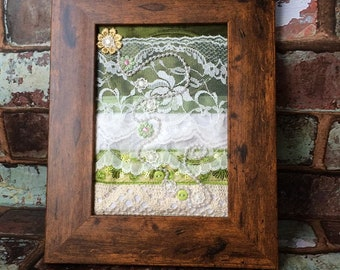 Framed Mixed Textiles ~ Vintage ~ Hand Embroidery ~ Quilt