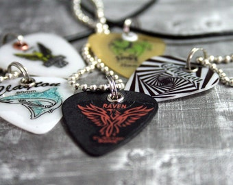 Guitar Pick Necklace, Leather Necklace, Guitar, Guitar Gifts, Rock n Roll, Animal, Music Gift Guitar Player Gift