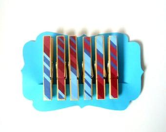 Decorative Clothespins//Patriotic Stripes//America//Red, White, & Blue//Patriotic//Celebrate//Chip Clips//Set of 6//Decoration