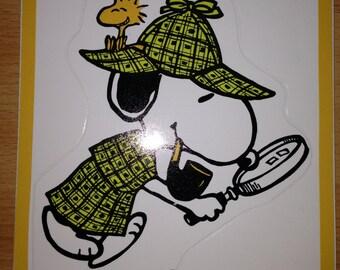 Vintage & Rare Peanuts Snoopy Detective Sherlock Holmes Hallmark Sticker Sheet from West Germany