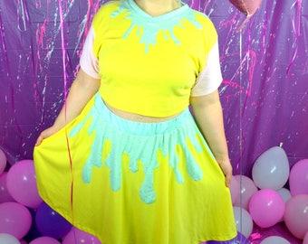 Yellow Ice Cream Drip Skater Skirt