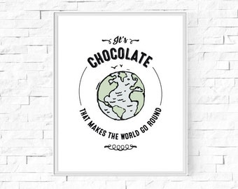 "Printable It's Chocolate That Makes The World Go Round Print - Chocolate Lover Gift - Instant Download - Wall Art - 8""x10"" and A4."