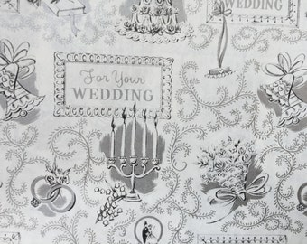 Vintage Gift Wrapping Paper - Silver and White Traditional Wedding Images Wedding Paper Wrap - 1 Unused Full Sheet Wedding Gift Wrap