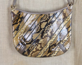 VINTAGE 1980's Snakeskin Shoulder Bag * Handbag