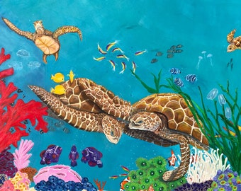 Sea turtles, and underwater scenes    Vibrant colors  prices vary on project  message me for details