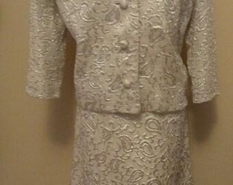 Vintage 70s Dress & Jacket Silver Metallic Brocade Short Sleeve Belt Waist Leslie Pomer Volup XL