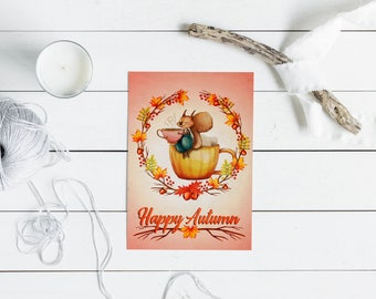 Fall Card, Fall Greeting Card, Autumn Greeting Card, Tea Party Card, Seasonal Greetings, Seasonal, Sentiments, Greeting Cards, Well Wishes
