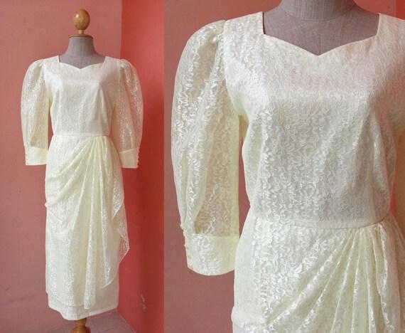 Gelbe Spitze Midi Kleid Medium 80er Jahre Prom Kleid Vintage