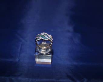"""50% Off, 10K White Gold """"Wave"""" Band with Blue and White Diamonds."""