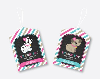 Instant Download, Puppy Favor Tags, Dog Favor Tags, Puppy Birthday Tags, Thank You Tags, Gift Tags, Pink Puppy Printable,Chalkboard(CKB.290)