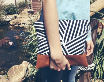 Geometric leather pouch
