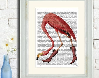 Pink Boots Flamingo Art Print - Pink Flamingo print Flamingo decor alice in wonderland art girls room kids room decor wall art gift for her