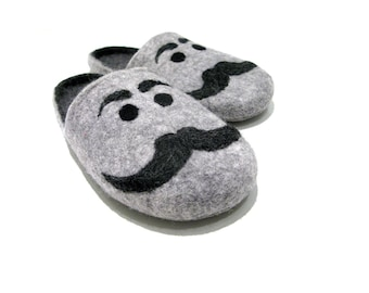 Grey mens slippers with mustache, wool slippers men, Fathers day gift idea, home shoes, felted slippers