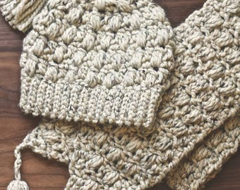 Madeleine Beanie & Scarf Set | Handmade Slouchy Beanie with Tassel | Wool Winter Crochet Hat and Scarf | Wheat-Colored Scarf and Hat