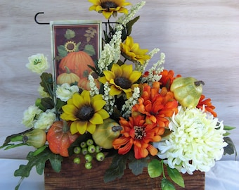 Fall Decor Floral Arrangement Cream Yellow Orange Pumpkins Flag Gourds Berries Green Foliage in Vintage Wooden Cheese Box Silk Artificial