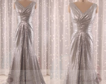 Silver wedding dress etsy junglespirit Image collections