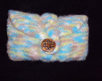 Wool Clutch Bag Felted Cable Knit