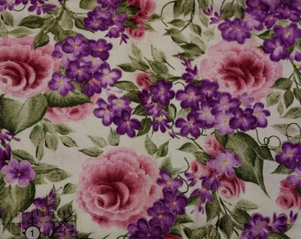 "Daisy Kingdom Small packed roses and lilacs by Donna Dewberry  100% cotton fabric 42""-44""  wide Springs"