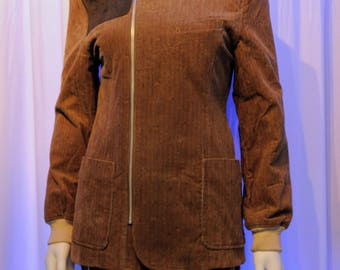 FIORUCCI Speckled Corduroy Fitted Asymmetrical Zip Hunting Jacket