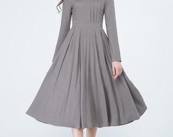asymmetrical dress, long linen dress, grey dress, pleated dress, spring dress, party dress, evening dress, formal dress, custom made 1696