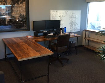 Awesome Custom Desk L Shaped Made Of Reclaimed Wood And Iron Pipe Legs