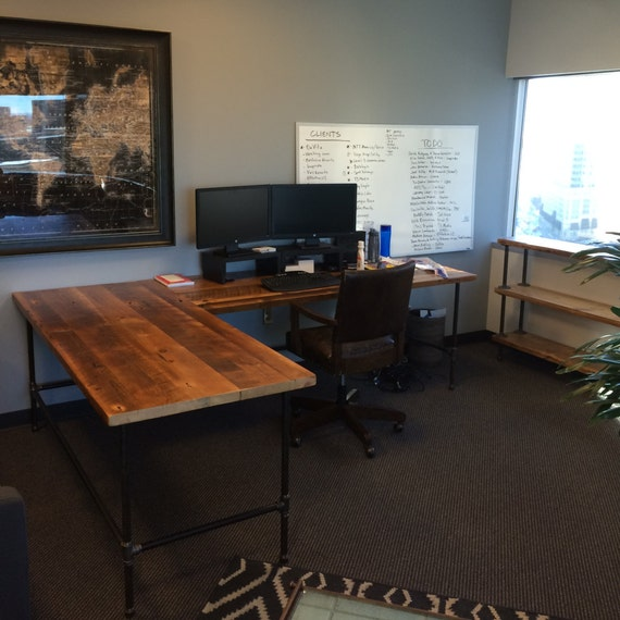 Custom Desk L Shaped Made Of Reclaimed Wood And Iron Pipe Legs