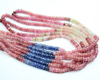 "Natural Multi Sapphire Smooth Rondelle Craft Loose Gemstone Beads Strand 16"" 4mm - Jewelry Making"