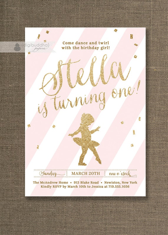 Items similar to pink gold glitter birthday invitation ballerina items similar to pink gold glitter birthday invitation ballerina ballet confetti any age first birthday free priority shipping or diy printable stella stopboris Choice Image