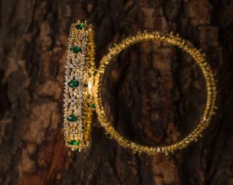 Rohini Emerald Bangles | Indian jewelry | Temple kundan gold jewelry | Bangles