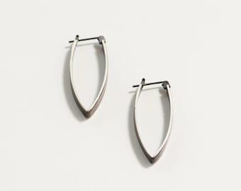 Pointed Drop Hinge hoop earring- Oxidized Sterling silver- sterling silver- minimalist modern hoop earring