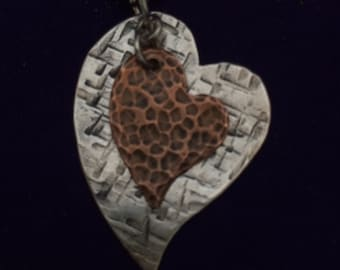 Sterling Silver & Copper Textured Rustic Double Heart Pendant Handcrafted by the Gifted Goose