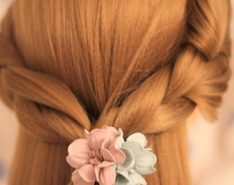 2 Colors/Double Fabric Flowers/ Ponytail Holder/ Hair Elastic Band/ Hair Rubber Band/Ties & Elastics