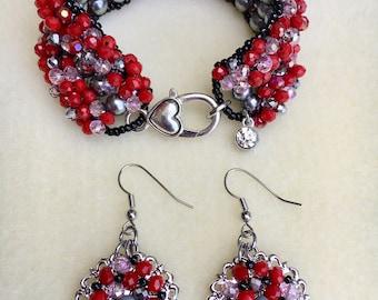 "Size 7"" Hand-Beaded Bracelet and Earrings Set"