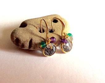 Rutilated quartz earrings/ Small drop earrings/ Cluster earrings/ Multi gemstone earrings/ Gold plated earrings/ Genuine gemstone earrings