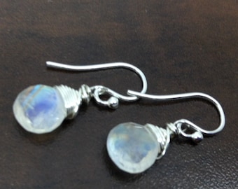 Rainbow Moonstone Earrings,  Birthstone Earrings, Genuine Rainbow Moonstone, Sterling Silver, June birthstone, Rainbow Moonstone Briolette