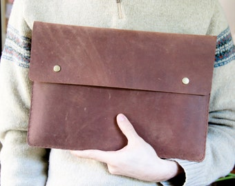 MacBook Pro 13 Case - Leather Laptop Case - Leather Portfolio - Leather Sleeve with Pocket - MacBook Pro Case - Leather MacBook Sleeve