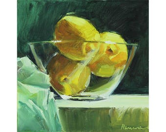 Lemons in a Glass Bowl on Green, Kitchen Art, Bowl of Fruit, Yellow and Green Still Life